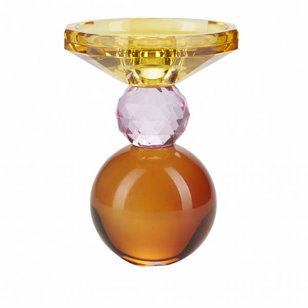 Krystall lysestake, gul / rose / rav